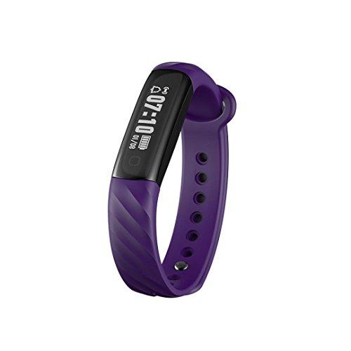 LCLrute Mode Hohe Qualität I5A Blut Sauerstoffdruck Pulsmesser Schrittzähler Smart Watch Band Armband (Lila)