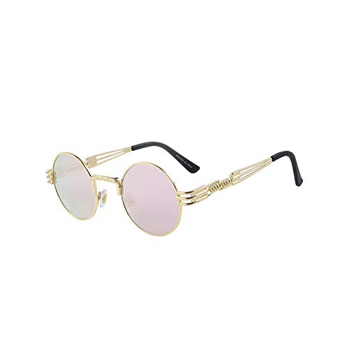 Sport-Sonnenbrillen, Vintage Sonnenbrillen, Women Steampunk Sunglasses Men Retro Round Sunglasses Metal Sun Glasses Men Oculos De Sol UV400 C08 Pink