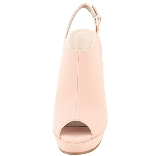 EKS Damen Slingbacks High Heels Peep Toe Sandalen Wedge Sandals Schuhe Keilsandaletten EU 35-46 Pink