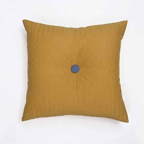 e nordische Moderne 45 * 45 cm einfache Baumwolle Farbe passendes Kissen knöpfe Wohnzimmer Sofa Kissen Kissen (Farbe : Gelb, größe : 45 * 45cm) ()