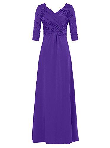 Dresstells, Robe de cérémonie Robe de mère de mariée longueur ras du sol col en V manches 3/4 Marine