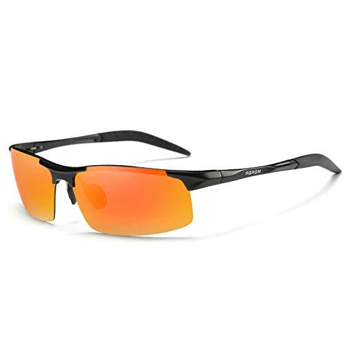 Sonnenbrille,Männer Lässig Retro Fahren Coole Sonnenbrille Männer Hälfte Frame Outdoor Reiten Sport Hochwertige Sonnenbrille Orange