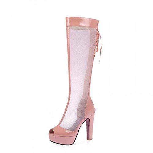 NobS Filati ginocchio high net Stivali Sandali Large Size 40-43 peep toe Tacchi alti pattini delle donne Pink