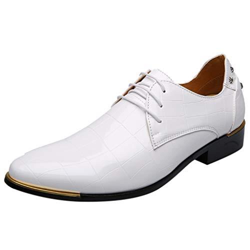 Weiß Schwarz Männer Teens Lederschuhe Business Spitz Farbe Leder Mode Schuhe Sommer Low Heels Mokassins Slippers ()