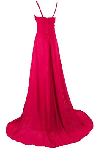 Sunvary una linea lungo chiffon Prom abito estivo con strass Rosa acceso