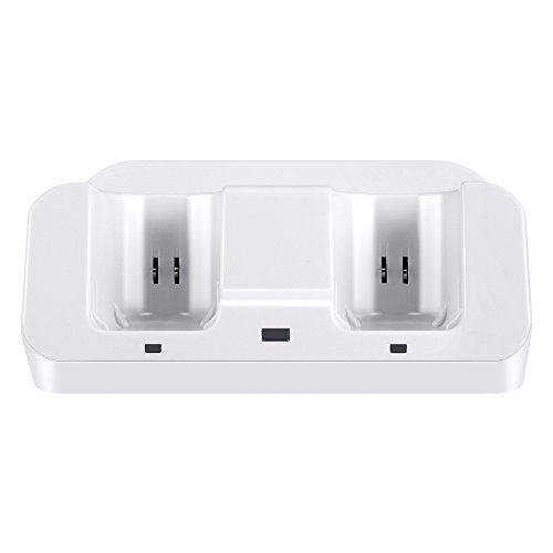 Prous 3 in 1 Ladestation für Ladestation, LU05 Nintendo Wii U Gamepad für Nintendo Wii U Gamepad und Wii-Fernbedienung mit Zwei 2800mAh Akkus und Ladekabel-Weiß
