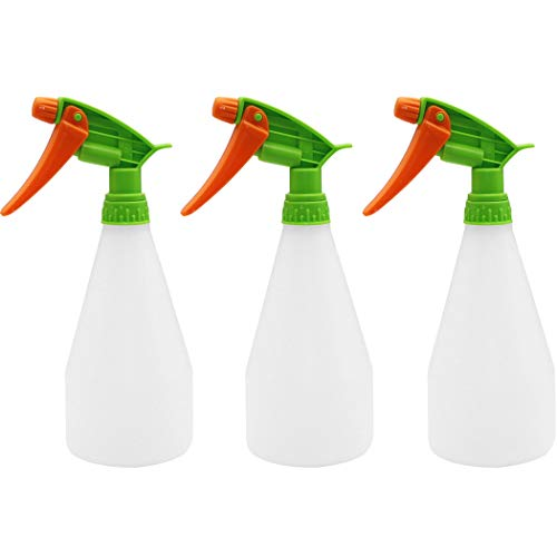Asunflower 3 Pack Plastic Spray Bottle with Adjustable Nozzle Leak Proof Garden watering Can for Cleaning Solutions Plants Pets (500ml)