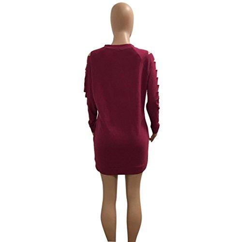 Hmeng Kleid, Frauen Baumwollrundhals Höhle heraus Taschen Brennende Blumen Langes Hülsen Hemd Partei Beiläufiges Kleid Rot