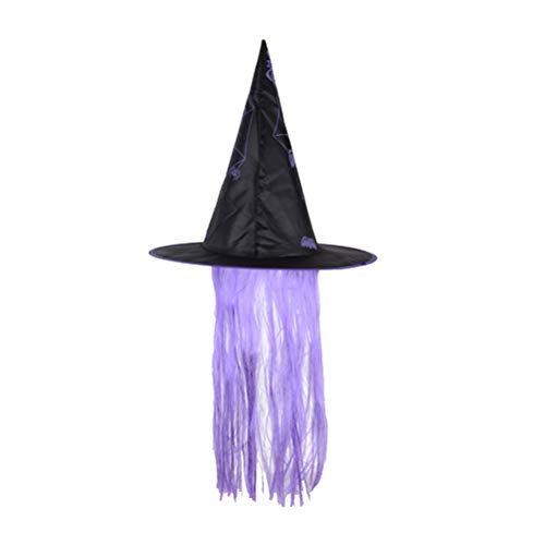 Amosfun Halloween Hut Hexe Dress Up Cap Perücke Hüte Make-Up Requisiten Halloween Kostüme für Cosplay Party Festival Maskerade (Lila)