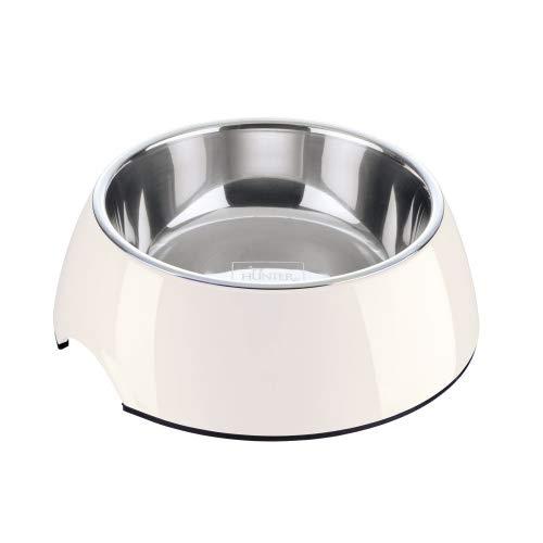 HUNTER Melamin-Napf, Futternapf, Trinknapf für Hunde und Katzen, herausnehmbarer Edelstahlnapf, 350 ml, weiss