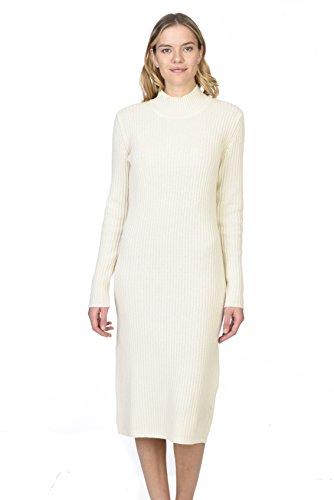 State Cashmere Damen Stehkragen Strickkleid 100% reines Kaschmir Langarm Rollkragenpullover-Kleid (M, Elfenbein) -