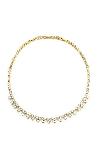 NEVI Party Wear Swarovski Elements 18K Gold Plated Brass Collar Strand Charm Necklace Jewellery for Women & Girls (Gold)
