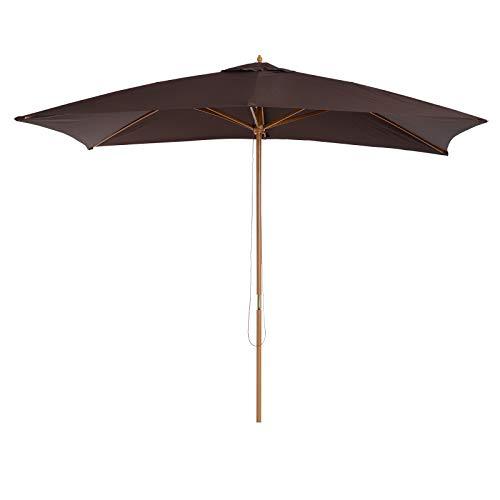 Outsunny Parasol Droit rectangulaire Bois Polyester Haute densité 3 x 2 x 2,45 m Chocolat