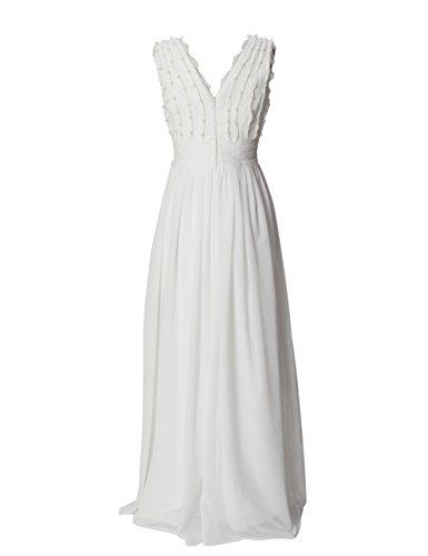 Dressystar Robe de soirée/de partie longue à Col en V avec des perles en Mousseline Blanc