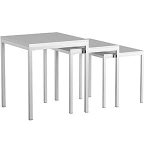 IDIMEX Tischset Luna Dreisatztische Beistelltisch Tische mit Platte aus MDF Weiss, Fußgestell verchromt