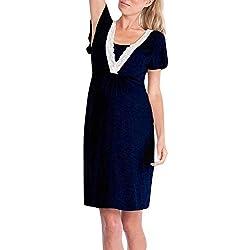 iYmitz ☯ Robe d'allaitement pour Pyjama Robes de Chambre de Grossesse Chemise de Nuit Peignoirs de Bain (XXL, H-Marine)