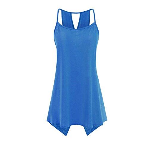 Sanfashion camicia - con bottoni - tinta unita - a punta tonda - senza maniche - donna blu xxxxl