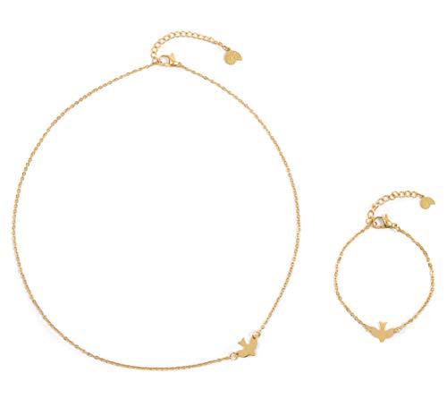 Happiness Boutique Damen Filigranes Schmuckset in Goldfarbe 2-TLG. | Zarte Schwalbe Kette und Armband mit Vogel Anhänger
