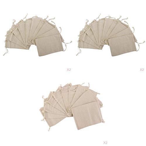 joyMerit 60 Stück Kleine Einfache Leinen Jutesack Schmuckbeutel Kordelzug Geschenktüten -