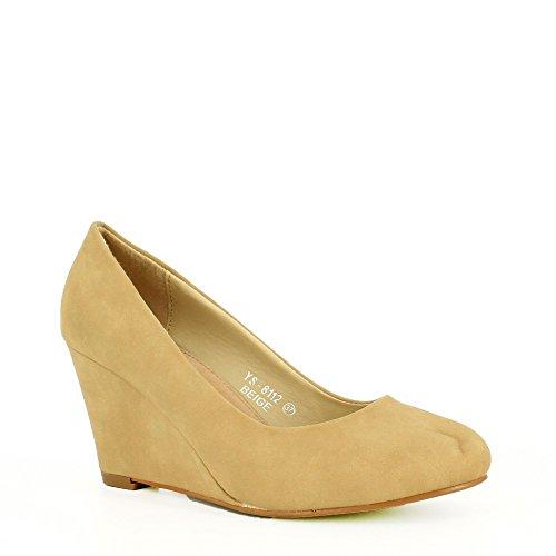 Ideal Shoes - Escarpins compensés en similicuir Soria Beige
