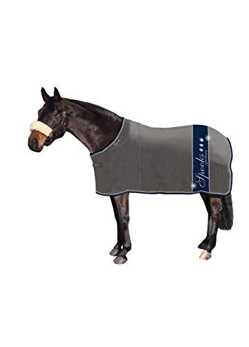 SPOOKS Abschwitzdecke für Pferde, Fleecedecke, Paradedecke - 125 135 145 155 Blanket Milano grey/navy 135 cm