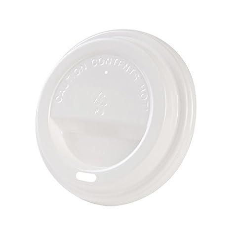 50x couvercles à gobelet | pour gobelet en carton bio en restauration rapide | Ø 90 mm | avec orifice pour boire | en PE, pour recyclage | blanc | plat