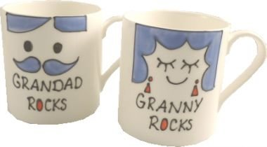 Grandad und Granny Rocks China Tassen, (Paar) Spode Fine Bone China