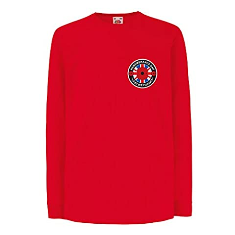 Funny t shirts for kids Long sleeve Remembrance Day! (7-8 years Red Multi Color)