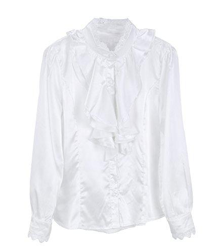 niceeshop(TM) Chiffon Langarm Doppel Falbalas Volant Falte Chiffon Shirt (Weiß, XL) (Shirt 24 2x22)