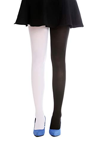 Black Und Für Party White Kostüm - DRESS ME UP - WZ-013BW-black-white Strumpfhose Pantyhose Damenkostüm Party Karneval Halloween schwarz weiß S/M