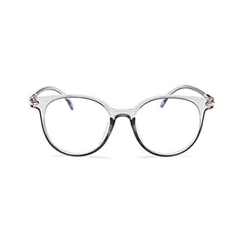 WooCo Retro Brille für Damen und Herren, Räumungsverkauf DEATU Mode Brillengestell Flacher Spiegel Transparente Brillengestell Plain Glass Brillen(Weiß,One size)