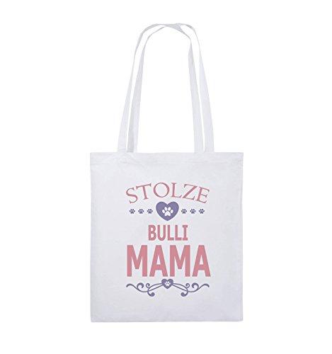 Comedy Bags - Stolze Bulli Mama - HERZ - Jutebeutel - lange Henkel - 38x42cm - Farbe: Schwarz / Weiss-Neongrün Weiss / Rosa-Violet
