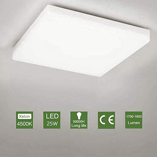 OOWOLF Plafón Led De Techo, 25w Lampara LED Luz De Techo Impermeable...