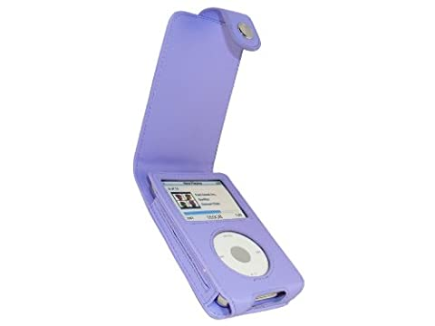 iGadgitz Purple Leather Case Cover for Apple iPod Classic 80GB, 120GB & Latest 6th Generation 160gb launched Sept 09 + Belt Clip & Screen