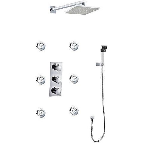 XXW Conjunto De Ducha montaje en pared ducha de lluvia cromo contemporáneo conjunto con sprays