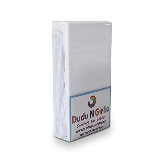 Dudu N Girlie - Sábana bajera ajustable para colchón de cuna (100% algodón), impermeable