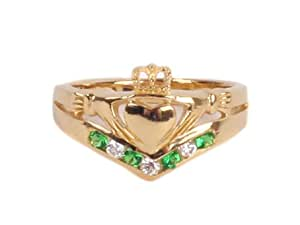 Silverspirit Jewellery Wishbone Claddagh Silver GoldPlated Ring with Emerald Cubic Zirconia Stone-L