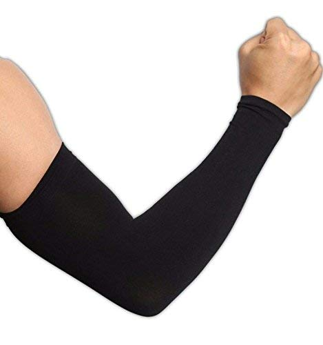 skytouch Unisex UV Protection Cooling Arm Sleeves (Black, Free Size)