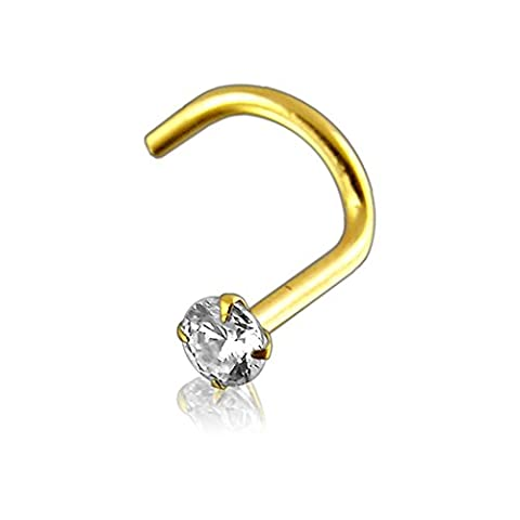 1.8MM Genuine DIAMOND with 20 Gauge ( 0.8MM ) 14 Ct Solid Yellow Gold Nostril Nose Screw
