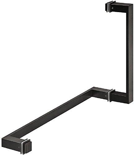 Gedotec Bad-Türgriff eckig Glastürgriff graphit-schwarz für Glastüren Dusch-Türgriff mit Handtuchstange | Modell H8590 | 200 x 70 x 25 mm | Griff inkl. Badetuchstange | 1 Stück