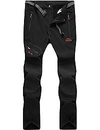 DAFENP Pantaloni Trekking Uomo Softshell Pantaloni Montagna Escursionismo Impermeabili Caldo Invernali All'aperto KZ1662M-Black-L