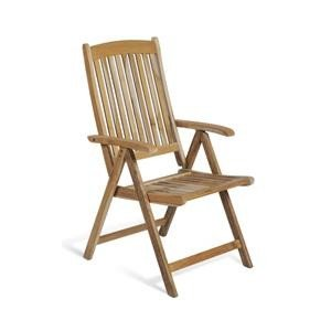 Vamundo Chaise de Jardin Pliante en Teck avec accoudoirs
