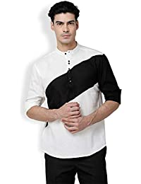 SVANIK Men's White&Black Blended Color Block Kurta
