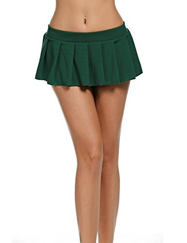 Avidlove Mini Rock Schulmädchen Skirt Damen Kurz Minirock Röcke Frauen Sexy Dessous Solid gefaltet Nachtwäsche Reizvolle, Gruen, Gr. M