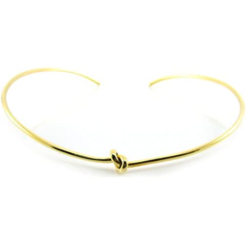 Mgd, Nudo de alambre de 2mm de diámetro Neckwire, Oro Tono Latón, ajustable Collar Gargantilla una talla para todos, joyería de moda para las mujeres,