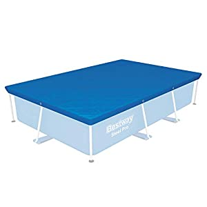 Bestway 58105-19 Flowclear Swimming Cover for Rectangular Steel Pro Pools, Blue, 8 ft 6 Inch