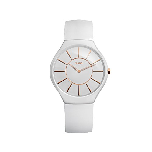 Rado True Thinline White Ceramic Womens Watch Quartz Rubber Strap R27958109