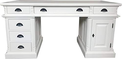 Empire Antik (Casa Padrino Schreibtisch Kiefer Massiv England Weiß 160 cm - Englischer Schreibtisch - Antik Stil - Empire Jugendstil Barock Kolonial Shabby Chic)