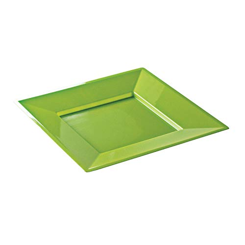 12 assiettes mariage jetables carrées plastique flûtes à 24 cm Vert Anis