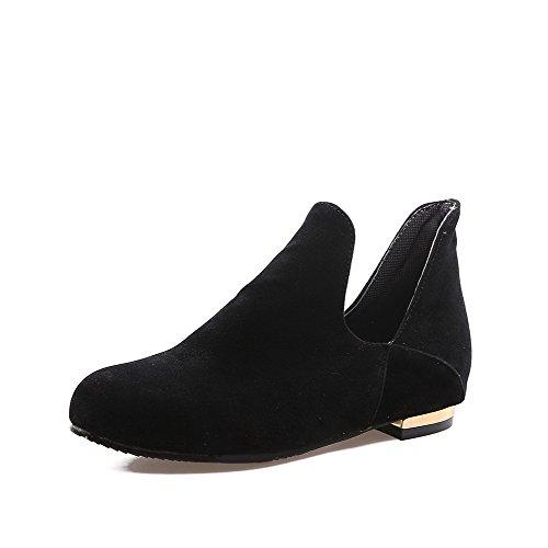 VogueZone009 Femme Couleur Unie Dépolissement à Talon Bas Tire Rond Chaussures Légeres Noir